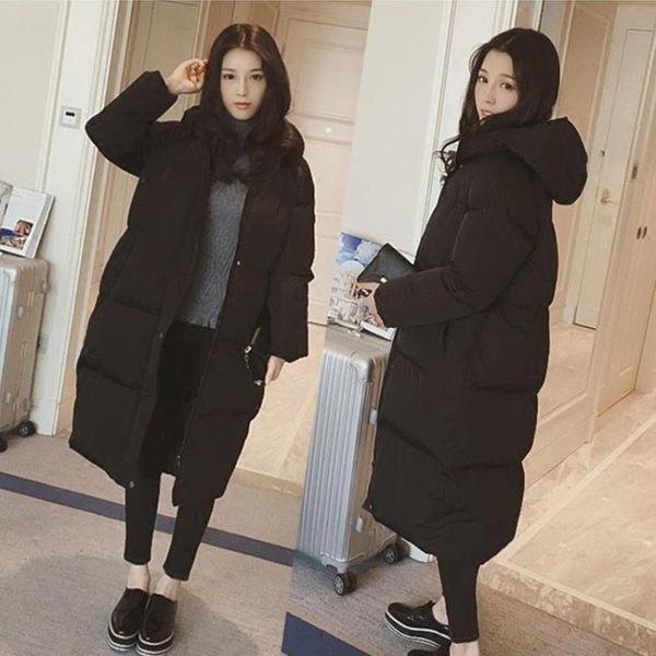 韓版羽絨棉服女冬季外套棉襖過膝面包服情侶棉衣女中長款 雅楓居