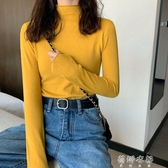 (免運)針織衫秋冬黃色修身百搭半高領長袖針織衫女毛衣薄款打底衫上衣