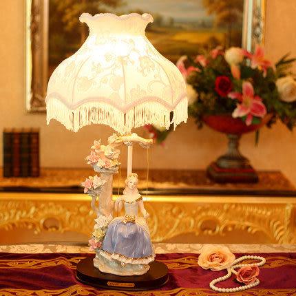 臥室奢華床頭燈(白藍色)