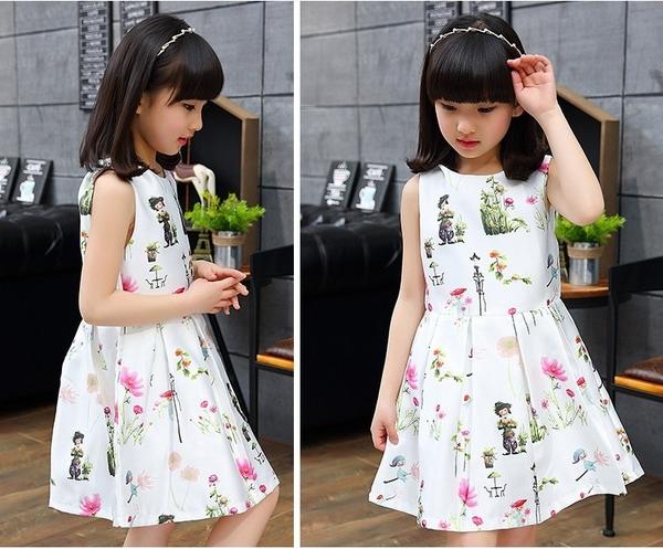 衣童趣♥韓版女童 花朵無袖洋裝 甜美可愛款澎澎洋裝 外出休閒百搭正式場合必備