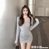 秋冬洋裝2020年新款女長袖針織短裙氣質包臀裙收腰顯瘦灰色裙子 蘇菲小店