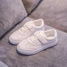 兒童小白鞋 兒童帆布鞋春季皮面女童運動鞋球鞋學生休閒鞋男童小白鞋-Ballet朵朵