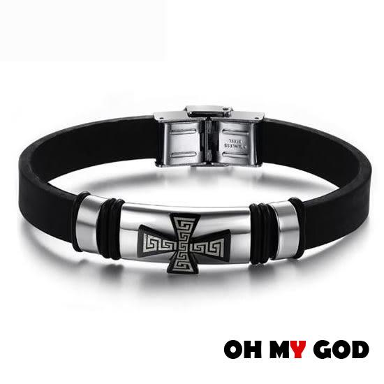 OH MY GOD個性十字架硅膠鈦鋼手環
