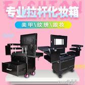 專業拉桿化妝箱帶鏡大容量上門美甲紋繡美發跟妝半永久多層工具箱  【PINKQ】