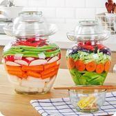 雙12購物節優思居 加厚透明玻璃泡菜壇 家用10斤咸菜腌菜壇子酸菜缸密封罐夏沫居家