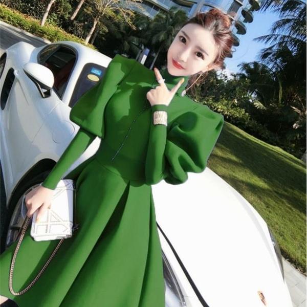 年前特銷 年秋季新款設計泡泡袖御姐輕熟風氣質減齡收腰顯瘦連衣裙女裝