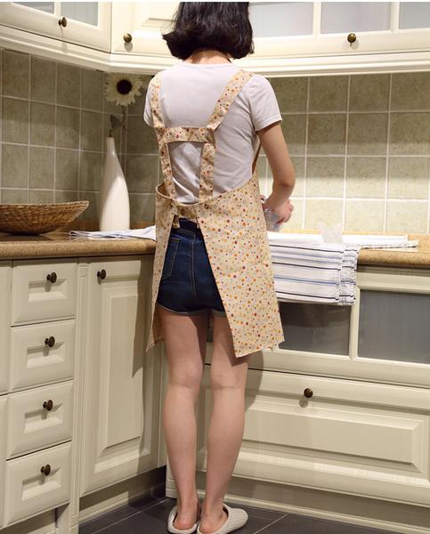 [韓風童品] H型鄉村碎花布圍裙 田園風格 成人廚房工作服 公主款成人圍裙罩衣