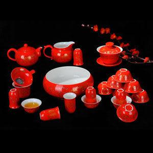 高檔婚慶紅金牡丹 陶瓷茶具