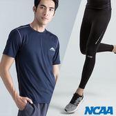 單導向 專業機能褲+極致輕量吸濕排汗短Tee 深藍灰線