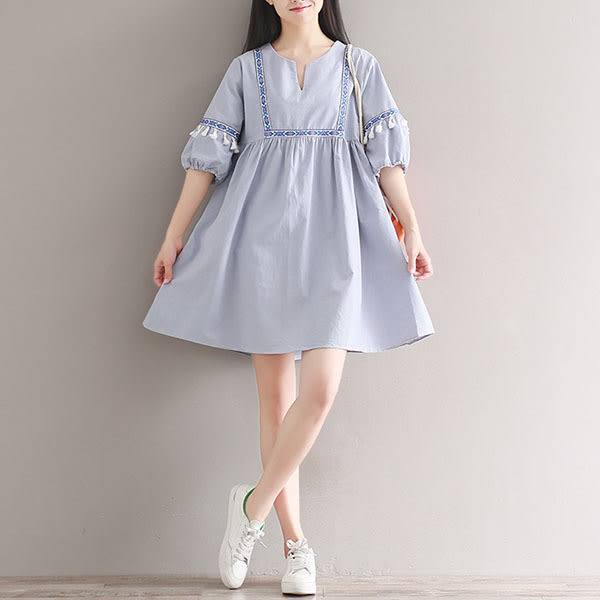 棉麻民俗風織帶設計洋裝