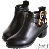 Ann'S時髦俐落-質感金釦側空韓國短靴-黑