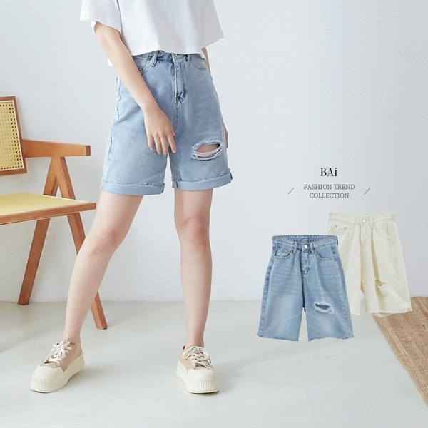 微刷色破損斜紋牛仔五分褲S-XL號-BAi白媽媽【310385】