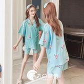 日系睡衣-和服純棉睡衣女短袖甜美可愛清新外穿兩件套裝-奇幻樂園
