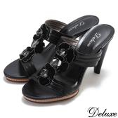 【Deluxe】全真皮優雅時尚絨布花朵高跟拖鞋(黑)