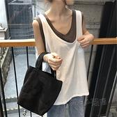 網紅ins無袖T恤女夏韓國ulzzang假兩件短袖韓版ins潮學生寬鬆上衣 夏季新品