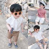 襯衫 兒童無袖襯衫夏季薄款寶寶韓版洋氣上衣男童休閒襯衣夏裝潮 1色