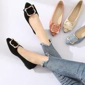 黑色尖頭平底鞋低跟瓢鞋百搭淺口淑女鞋子 青木鋪子