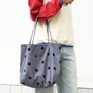 潮流大容量女士托特包 時尚女生單肩包 小清新復古托特包 簡約波點女包包 韓版女款印花大包包