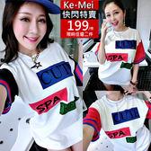 克妹Ke-Mei【AT51760】CUTE歐美妞最愛反色字母長版T恤洋裝