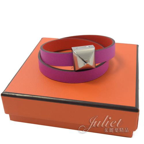 茱麗葉精品【全新現貨】HERMES MEDOR INFINI 銀色暗扣雙色小牛皮手環.紫/紅