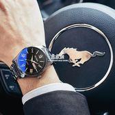 韓版潮流時尚學生全自動機械男錶防水夜光雙日期精鋼錶帶手錶男士  易家樂