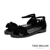 Tino Bellini啞光絨面荷葉邊平底涼鞋_黑 TF9051 歐洲進口