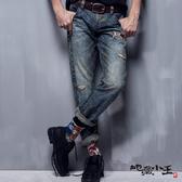 【5折限定】刷破迷彩火焰低腰直筒褲(牛仔藍) - BLUE WAY  地藏小王