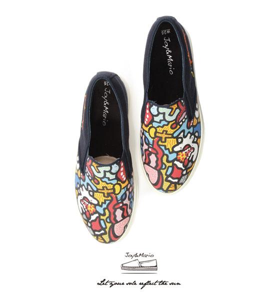 【Joy&Mario】歐美塗鴉厚底休閒鞋 - 82053W NAVY 美碼6