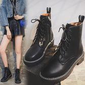 馬丁靴 黑色女英倫風短靴新款百搭秋款靴子春秋單靴 - 古梵希