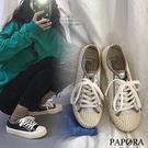 PAPORA綁帶厚底休閒餅乾帆布鞋KB839黑/白