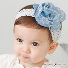 牛仔布蕾絲花寶寶髮帶 頭飾 髮箍