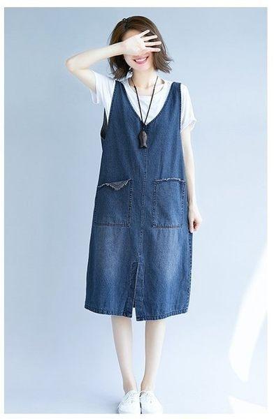初心 韓國洋裝 【D1265】 無袖 V領 開叉 背心裙 牛仔裙 洋裝 牛仔洋裝