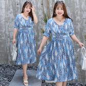中大尺碼~雪紡側拉鍊短袖連衣裙(XL~4XL)