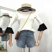 甜美撞色喇叭袖圓領上衣新款韓版百搭港味女裝針織衫