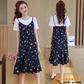 洋裝連身裙孕婦裝夏天裙子時尚款兩件式裝洋氣網美夏裝中長款連身裙【小桃子】