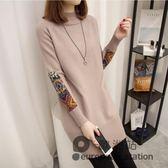 針織衫/中長款套頭韓版寬鬆毛衣女秋冬季新款半高領打底毛衣裙
