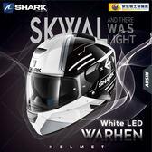 [中壢安信]法國 SHARK SKWAL WARHEN 彩繪 黑白 LED 全罩 安全帽 定位燈 夜間燈