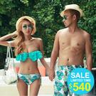 Qmigirl 韓版情侶 花朵荷葉邊比基尼泳裝 附罩衫 BIKINI 泳褲【WET468】