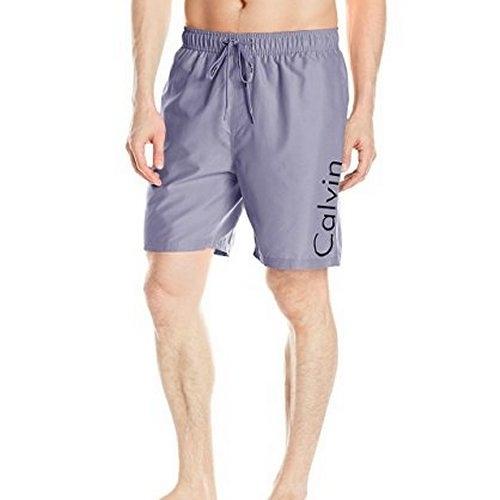 CK-男腰帶標誌Volley海灘泳褲(泥灰色)