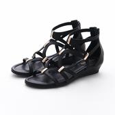 MICHELLE PARK 流行羅馬風素面交叉環繞金屬休閒涼鞋-黑色