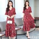 碎花長洋裝2020波西米亞長裙雪紡連身裙中長款紅色沙灘裙度假裙 LF5403【極致男人】