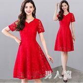 大碼禮服蕾絲連衣裙女夏新款中長款氣質顯瘦高腰紅色新娘回門  df449『男人範』