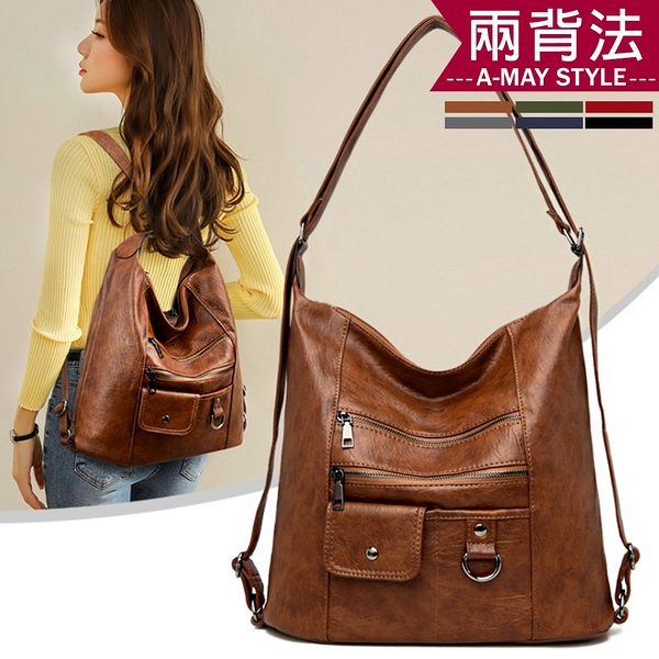 包包-時尚皮紋大容量兩用後背包/側背包