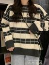 復古港風條紋洋氣日系毛衣ins女森系長袖寬鬆韓系針織衫上衣外穿