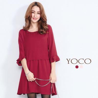 東京著衣【YOCO】領口蕾絲拼接荷葉袖洋裝-S.M(6021765)