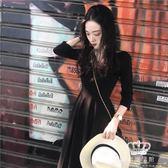 長袖洋装 小黑裙 a字v領中長款氣質連身裙復古大擺【艾米潮品館】