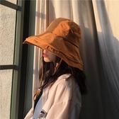 遮陽帽棉麻素面大檐漁夫帽子女休閒百搭冬季遮陽帽可折疊防風盆帽潮帽