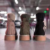 機車短靴單馬丁靴女新款秋季英倫風學生復古韓版百搭襪子ins