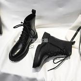 馬丁靴女英倫風20秋季新款學生韓版系帶黑色百搭機車粗跟短靴皮靴