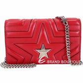 Stella McCartney Star WOC 小款星型絎縫手拿鍊帶包(紅色/銀鍊) 1840151-54